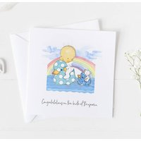 New Baby Card For Rainbow Baby, Christening Card .4v11a