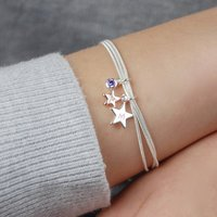 Personalised You And Me Silver Star Bracelet, Silver