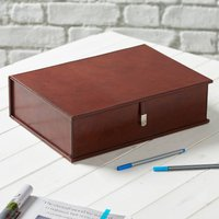 Personalised Leather Document Box File