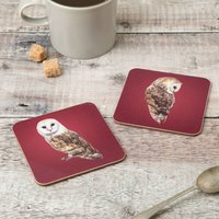 Pair Of Barn Owl Coasters