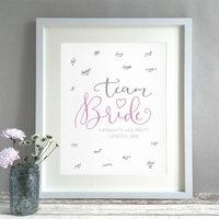Team Bride Personalised Hen Party Guest Book Print