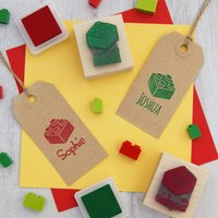 Personalised Children's Building Bricks Rubber Stamp