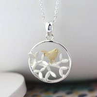 Silver Plated Leaf And Golden Bird Necklace, Silver