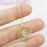Gold Moon And Sun Disc Pendant Necklace, Gold