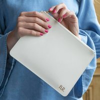 Personalised Leather Clutch Bag Or Pouch In Two Sizes