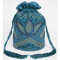 Beatrice Art Deco Bucket Bag In Teal