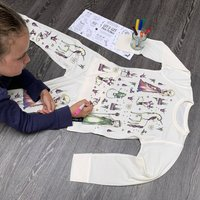 Personalised Ice Queen Colour In Pyjamas With Pens