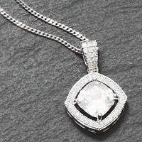 Vintage Style Cushion Cut Crystal Necklace