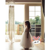 Melody ~ Lace And Tulle Flower Girl In Ivory