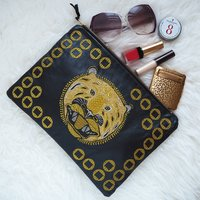 Embroidered Metallic Tiger Leather Clutch Bag, Black/Tan
