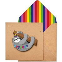 Handmade Happy Birthday Sloth Personalised Card