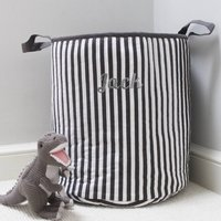 Personalised Charcoal Stripe Toy Storage Laundry Bag