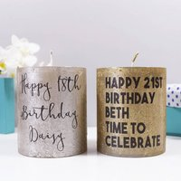 Personalised Birthday Metallic Candle, Silver/Champagne/Gold