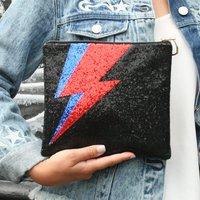 Glitter Lightning Bolt Clutch Bag