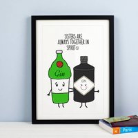 Personalised 'Together In Spirits' Sister Print