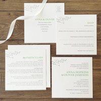 Woodbury Green And White Wedding Stationery Set