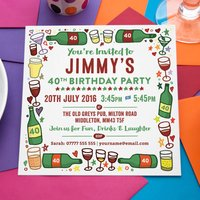 Wine, Beer And Drinks Personalised Party Invitations, Blue/Pink
