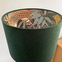 Green Velvet Lampshade With Gold Toucan Inner