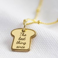 Gold Sterling Silver Bread Charm Necklace, Silver