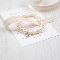 Girls Holy Communion Pearl Bracelet With Poem, Ivory/Rose