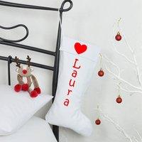 Personalised White Christmas Stocking