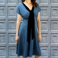 Crepe Dress With Vintage Velvet Sash Detail