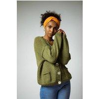 The Astara Wool And Organic Cotton Cardigan In Green