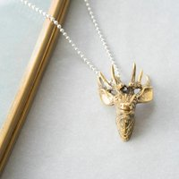 Large Brass Stag Necklace