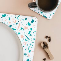 White Terrazzo Rectangle Placemat Set