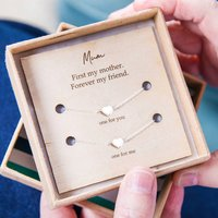 First My Mother, Forever My Friend Heart Necklace Set