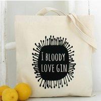 'Gin Love' Black Print Tote Bag, beige