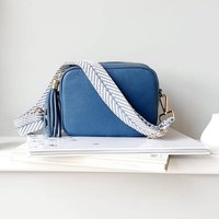 Denim Blue Leather Handbag With Interchangeable Strap