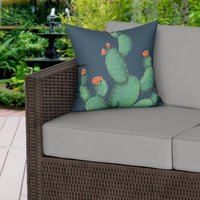 Prickly Pear Blue Water Resistant Outdoor Cushion