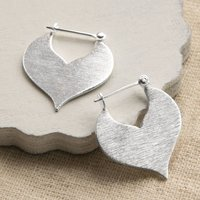 Sterling Silver Love Leaf Earrings, Silver