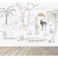 Baby Safari Animals Wallpaper Mural