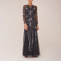 Charcoal Beaded Maxi Gown