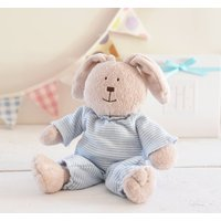 New Baby Boy Gift. A Bunny Box And Personalised Poem, Blue/Grey