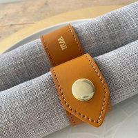 Six Personalised Leather Napkin Rings