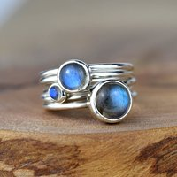 Storm Sterling Silver Stacking Rings With Labradorite, Silver