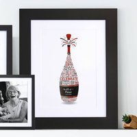 Personalised 90th Birthday Champagne Word Art