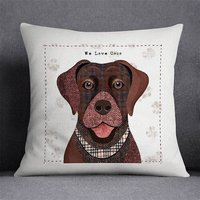 Brown Labrador Personalised Dog Cushion Cover