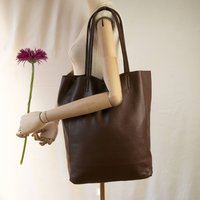 Chocolate Soft Italian Leather Tote Shopper