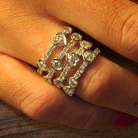 Waterfall Design White Gold Diamond Ring, Gold