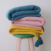Four Layers Cotton Muslin Throw Blanket