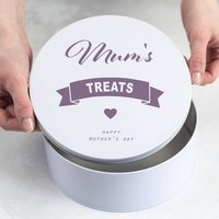 Personalised Mothers Day Treat Tin, Blue/Spring Green/Green