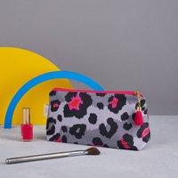 Personalised Grey Leopard Print Makeup Bag