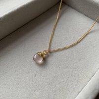 Rose Quartz Tiny Tumbled Gemstone Pendant Necklace