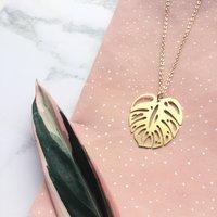 Gold Monstera Leaf Necklace, Gold