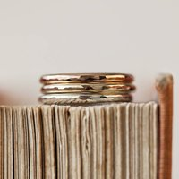 Hammered Solid Gold Halo Ring, Gold