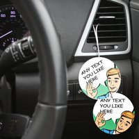 Personalised Car Air Freshener Pack Of Three Comic